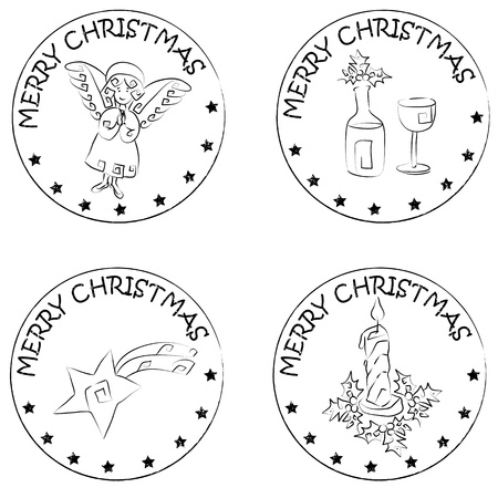 4 christmas coin stamps isolated on white with stars and merry christmas text, angel, xmas candle, comet, glass and bottle of wine Vector