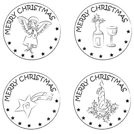 merry christmas text: 4 Navidad sellos monedas aisladas en blanco con estrellas y alegre navidad texto, �ngel, vela de Navidad, cometa, el vidrio y la botella de vino