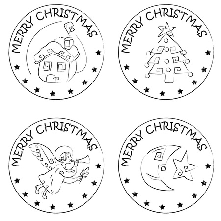 4 christmas coin stamps isolated on white with stars and merry christmas text, snow house, xmas tree, angel, moon and comet Vector