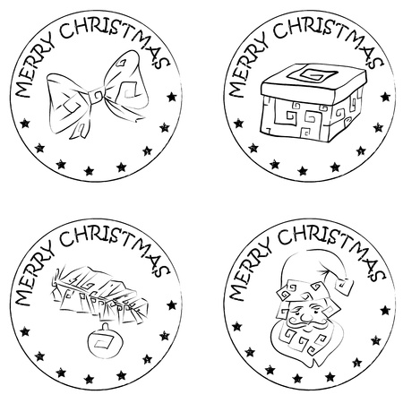 4 christmas coin stamps isolated on white with santa claus and merry christmas text, santa claus head,  present, pine branch and bow Vector