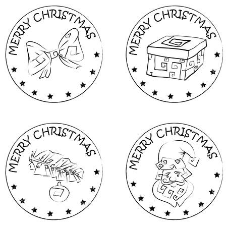 merry christmas text: 4 Navidad sellos monedas aisladas en blanco con Pap� Noel y Feliz Navidad de texto, santa claus cabeza, rama actual, el pino y el arco