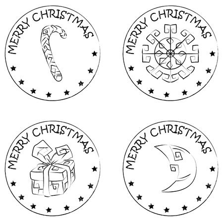 merry christmas text: 4 christmas coin stamps isolated on white with stars and merry christmas text, snowflake, present, moon, candy