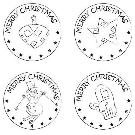 4 christmas coin stamps isolated on white with stars and merry christmas text, snowman, star, glove, globe Vector