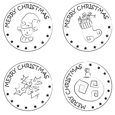 merry christmas text: 4 de navidad sellos de monedas aisladas en blanco con estrellas y el texto Feliz Navidad, calcet�n con regalos, globo, Holly Berry, elfo