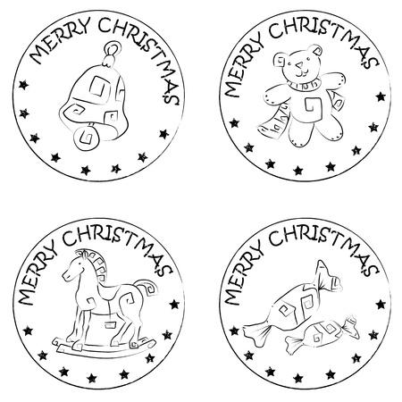 merry christmas text: 4 sellos moneda de Navidad aislado en blanco con estrellas y feliz navidad texto, osito de peluche, caballo de madera, dulces, campana Vectores