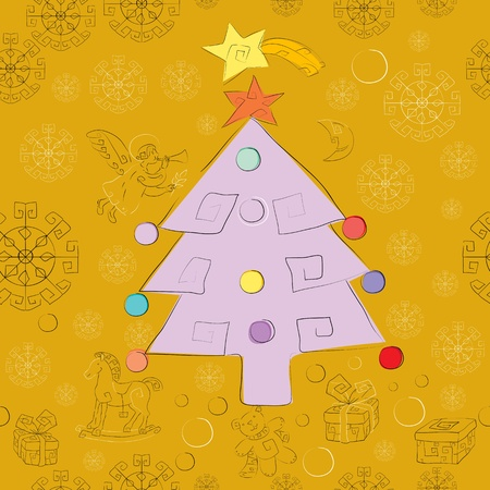 golden christmas card pattern with xmas tree and gifts, wrapping and wallpaper Illustration