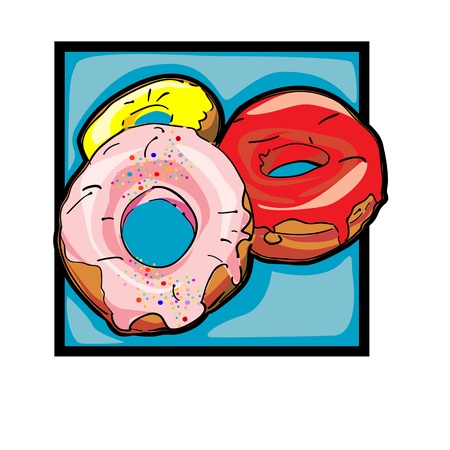 Classic clip art graphic icon with donuts Stock Vector - 10940028