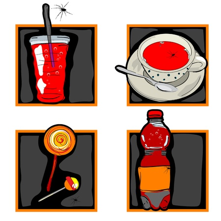 halloween set of scary icons with odd drinks and candy and spider, isolated on white Stock Vector - 10940026