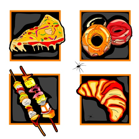 halloween set of scary icons with fast food odd meals, donuts, skewers and spider, isolated on white Stock Vector - 10940021