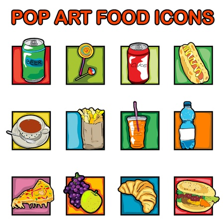 Classic clip art icons with cheeseburger, pizza, beer, soda, coffee, lollipop, juice, croissant, french, fries, fruits, pop art retro graphics