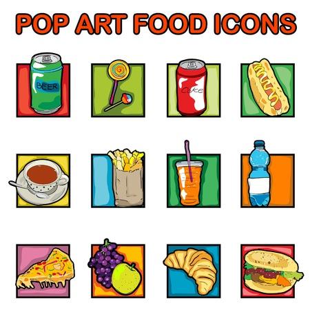 Clásico clip art iconos con queso, pizza, cerveza, refrescos, café, caramelo con palo, jugo, croissant, francés, papas fritas, frutas, los gráficos del arte pop retro