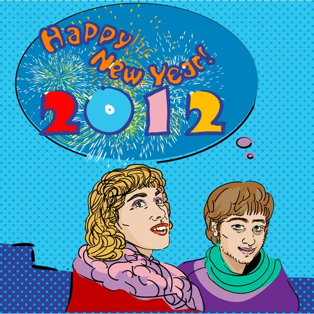 pop art Happy New Year 2012 card with speech bubble and fireworks Stock Vector - 11053911