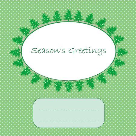 season's greetings over a green pop art background as snow, christmas and new year 2012 winter card Stock Vector - 11053914