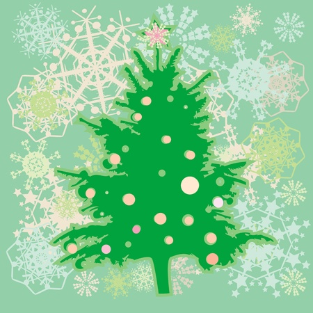 christmas tree over a green background with snowflakes and stars, winter greetings card Vector