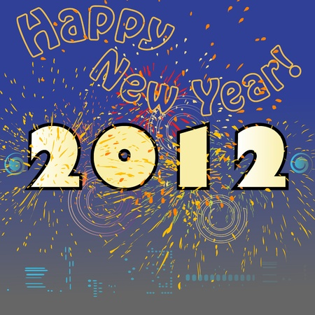 Happy New Year retro card with skyline and fireworks, 2012 Vector