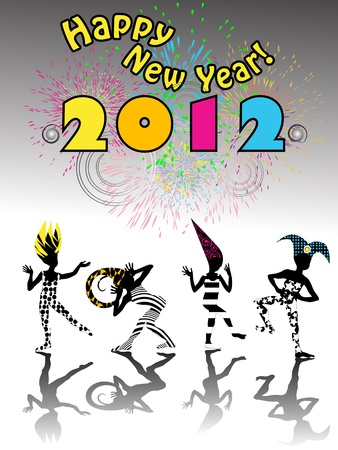 2012 new years eve carnival happy silhouettes under clolorful fireworks Vector