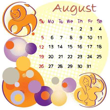 2012 calendar august with zodiac signs Vector