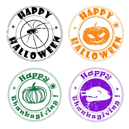 Halloween and Thanksgiving stamps, autumn greetings Vector