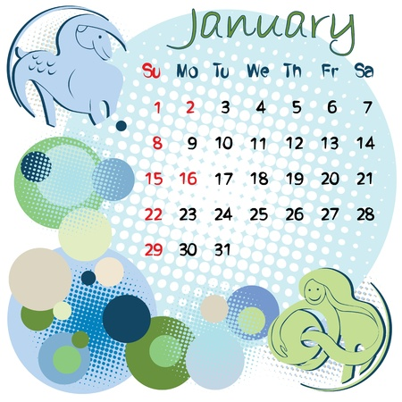 2012 calendar january with zodiac signs and united states holidays Vector