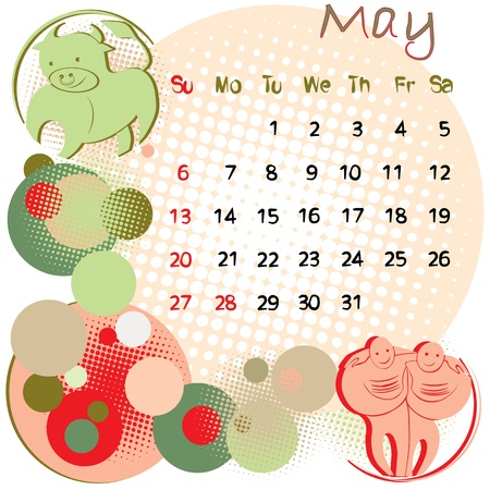 2012 calendar may with zodiac signs and united states holidays Vector