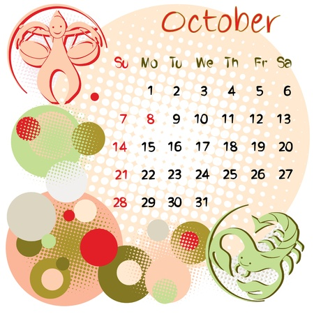 2012 calendar october with zodiac signs and united states holidays Vector