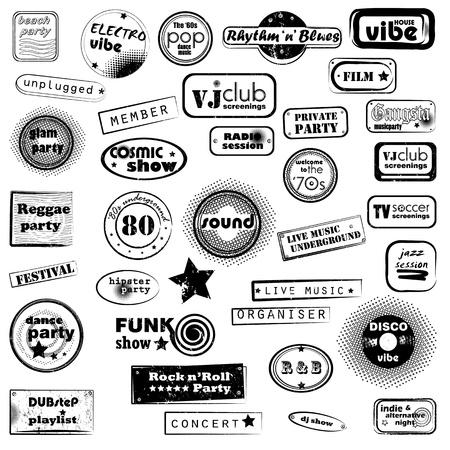glam: conjunto de sellos retro sobre m�sica de parte de un club nocturno o bar, 36 sellos con texto y dise�o de arte pop Vectores