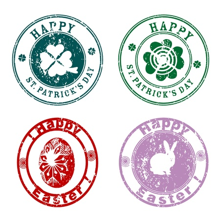 Saint Patricks Day and Happy Easter stamps, spring greetings
