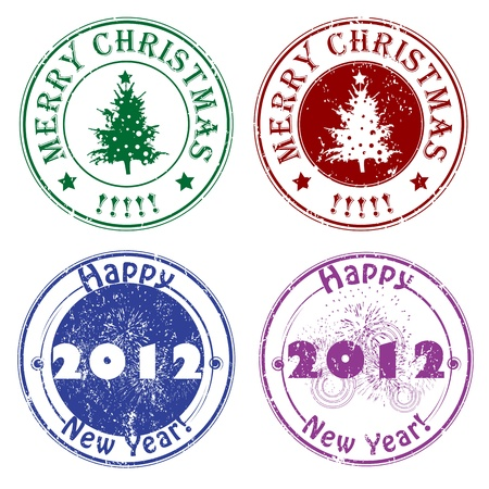 Christmas and New Years Eve stamps, winter greetings Vector