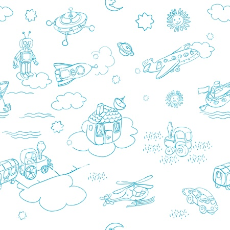 science retro 3D toys doodle pattern isolated on white Vector
