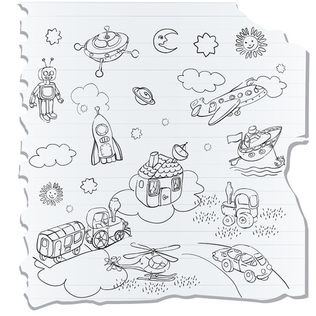 notebook page: science retro 3D toys doodle on a a notebook page, childlike drawing style