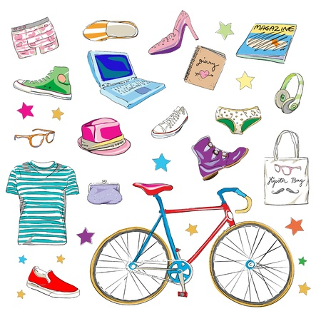 urban hipster accessories, smart colored doodles isolated on white Illustration
