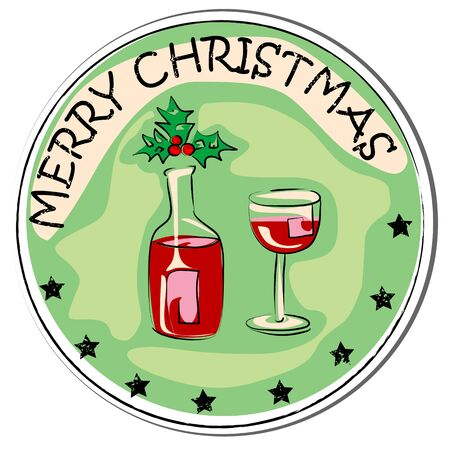 stoking: merry christmas retro sticker with a bottle of wine, berry and glass isolated on white
