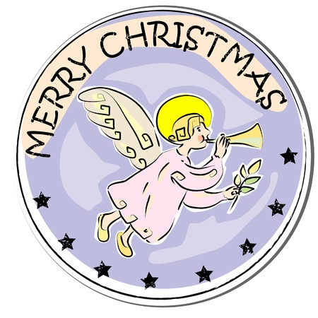 stoking: merry christmas retro sticker with angel playing trumpet isolated on white