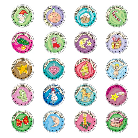 merry christmas set of colored clip art stamp coins isolated on white Illustration