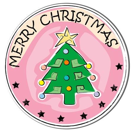 stoking: christmas tree retro sticker isolated on white