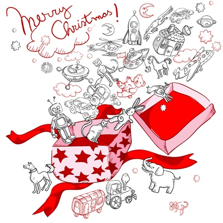 merry christmas gift box with a lot of funny toys for children, doodles on white