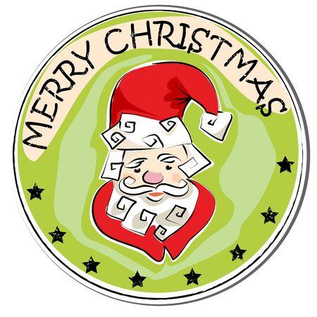 stoking: merry christmas retro sticker with santa claus isolated on white