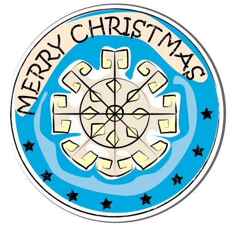 merry christmas retro sticker with snow flake isolated on white Stock Vector - 11275384