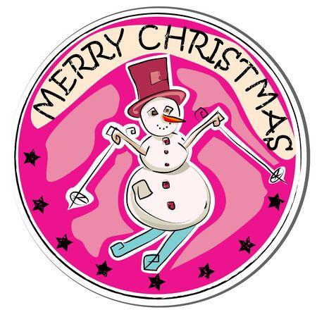 stoking: merry christmas retro sticker with snowman isolated on white Illustration