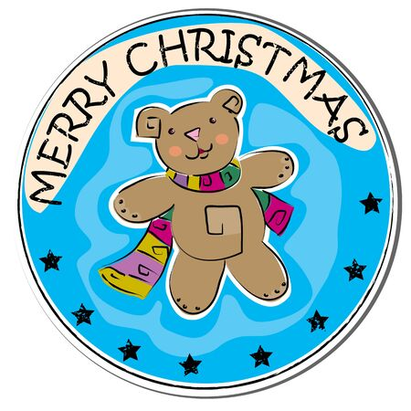 stoking: merry christmas retro sticker with a teddy bear wearing scarf isolated on white