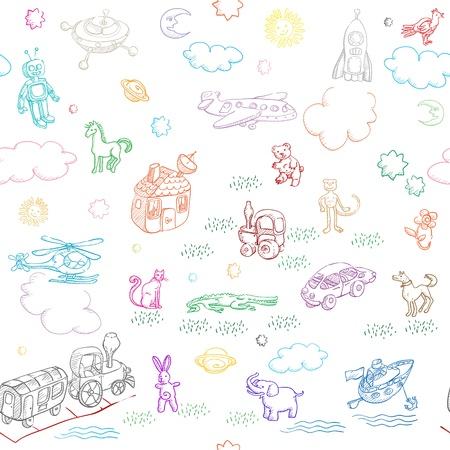 duif tekening: speelgoed doodles patroon voor jongens en meisjes op wit wordt geïsoleerd
