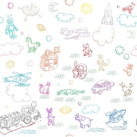 toy doodles pattern for boys and girls isolated on white Illustration