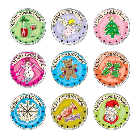 merry christmas set of colored clip art stamp coins, stickers isolated on white Vector
