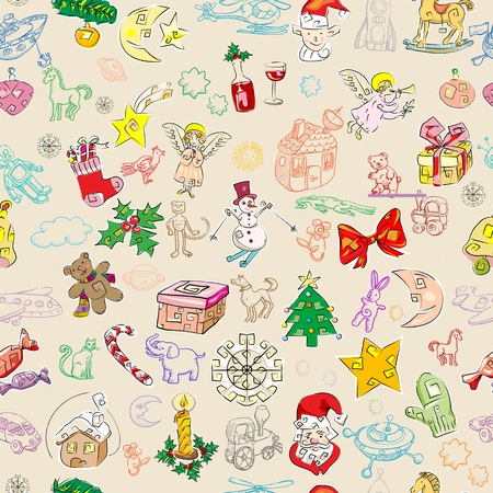 christmas rich pattern with toys and season greetings icons, childlike drawn wallpaper Vector