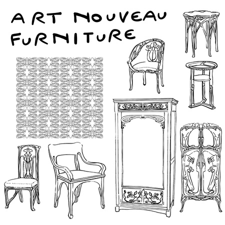 boudoir: authentic art nouvea furniture doodles and jugendstil motif pattern, isolated on white