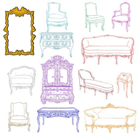 auténticos garabatos de colores y muebles de estilo rococó espejo aislado en blanco