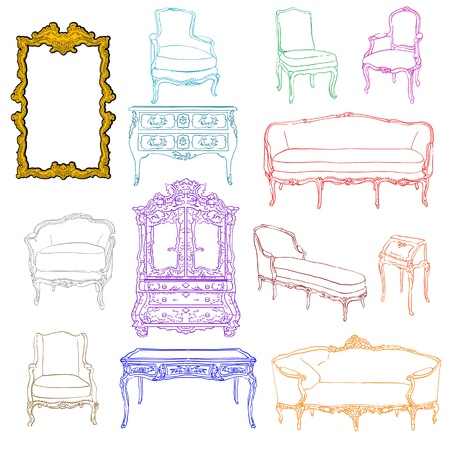 authentic rococo furniture colored doodles and mirror isolated on white Illustration