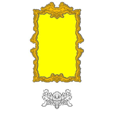 authentic rococo ornament frame for pictures and mirror with human head motif, interior decoration isolated on white Stock Vector - 11479138