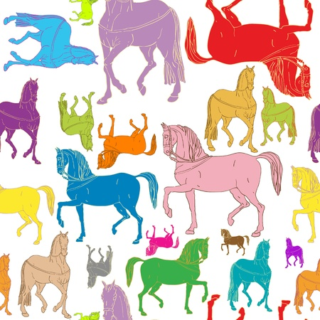 horse running: pattern of colored horses silhouettes, doodle drawing isolated on white