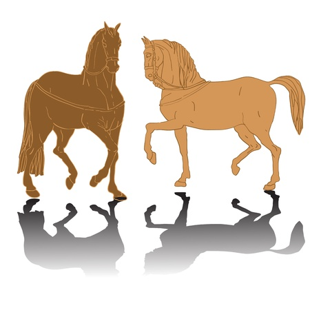 ar: colored horses silhouettes, doodle drawing with shadows isolated on white